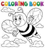 Tema felice 1 dell'ape del libro da colorare Fotografia Stock