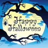 Tema feliz de Halloween com lua 3 Imagens de Stock