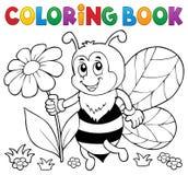 Tema feliz 4 de la abeja del libro de colorear Imagen de archivo libre de regalías