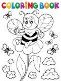 Tema feliz 3 de la abeja del libro de colorear Imágenes de archivo libres de regalías