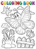 Tema feliz 5 de la mariposa del libro de colorear stock de ilustración