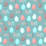 Tema feliz de Pascua Modelo inconsútil de la historieta de la caza divertida del huevo Fotos de archivo