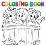 Tema 1 för barn för färgläggningbok Royaltyfri Fotografi