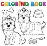Tema 6 för hund för färgläggningbok Royaltyfria Bilder
