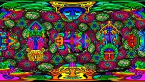 Tema för kupol 360VR för VJ aztec-mayan med puls för 120 bpm stock video
