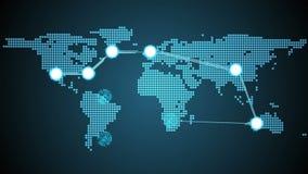 Tema global de las conexiones en azul ilustración del vector