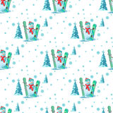 Tema infinito do Natal do teste padrão Vector a ilustração sem emenda de um boneco de neve, equipamento de esqui com árvores cobe ilustração royalty free