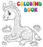 Tema joven 1 de la jirafa del libro de colorear Foto de archivo libre de regalías