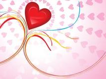 Tema lucido astratto del biglietto di S. Valentino del cuore Fotografie Stock