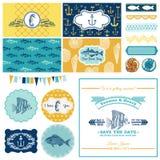Tema náutico do mar ajustado - para a decoração do partido Imagens de Stock Royalty Free