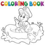 Tema pequeno 1 do marinheiro do livro para colorir Fotografia de Stock