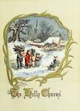 Tema retro do Natal Crianças nas madeiras Imagem de Stock Royalty Free