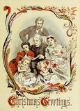 Tema retro do Natal Família que lê um livro Imagem de Stock