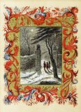 Tema retro do Natal Jardim da noite Imagem de Stock Royalty Free