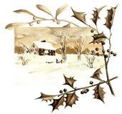 Tema retro do Natal A natureza do inverno no Natal Fotos de Stock Royalty Free