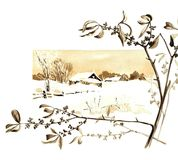 Tema retro do Natal A natureza do inverno no Natal Foto de Stock
