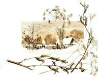 Tema retro do Natal A natureza do inverno no Natal ilustração stock