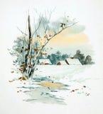 Tema retro do Natal A natureza do inverno no Natal ilustração do vetor