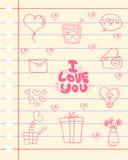 Tema romanzesco di amore di carta illustrazione di stock