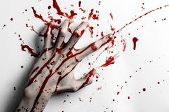 Tema sanguinoso di Halloween: la stampa sanguinosa della mano su un bianco lascia la parete sanguinosa Immagini Stock
