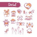 Tema social ajustado ícones esboçado esboço Linha arte Drawin do lápis Imagens de Stock Royalty Free