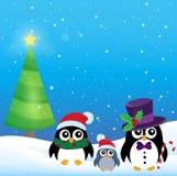 Tema stilizzato 3 dei pinguini di Natale Fotografia Stock