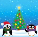 Tema stilizzato 4 dei pinguini di Natale Fotografie Stock Libere da Diritti