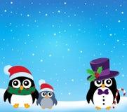 Tema stilizzato 1 dei pinguini di Natale Fotografie Stock