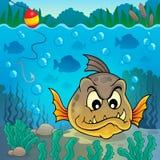 Tema subacuático 4 de los pescados de la piraña Imagenes de archivo