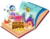 Tema subaquático do livro aberto ilustração do vetor