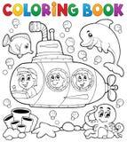 Tema submarino 1 del libro de colorear Foto de archivo libre de regalías