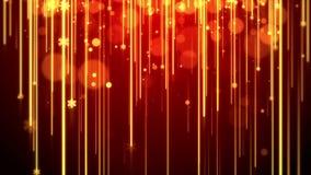Tema vermelho da metragem dos gráficos do movimento do fundo da animação do Natal, com raia de luzes, brilho do bokeh e floco de