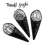 Temaki卷日本食物例证 板刻寿司剪影 库存照片