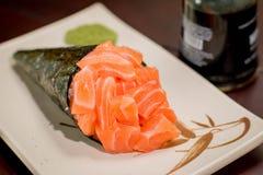 Temaki japonés de la comida Fotografía de archivo