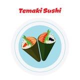 Temaki on plate. Sushi - tuna, salmon, caviar, rice and nori. Temaki on plate. Raw fish - tuna, salmon, caviar, rice and nori in sushi. Made in cartoon flat Royalty Free Stock Images