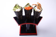Temaki Sushi, Avocado Spicy Salmon and Soft Shell Crab isolated Stock Photos