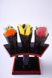 Temaki Sushi, Tobiko, Tamagoyaki and Tuna isolated on whote back Stock Image