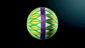 Temari球,在传统日本风格的一个工艺品球在黑暗的backgroung 免版税图库摄影