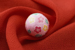 Temari and cloth. Background image of japanese style Royalty Free Stock Photos