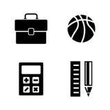 Temas de escuela Iconos relacionados simples del vector Imágenes de archivo libres de regalías