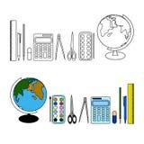 Temas de escuela para el alumno de clases primarias stock de ilustración