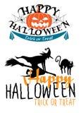 Temas de Halloween con la bruja y las calabazas Foto de archivo