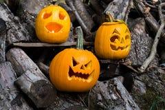 Temas de Halloween La composición de tres talló las calabazas de Halloween en fondo de madera Las calabazas con diverso Halloween Imágenes de archivo libres de regalías
