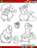 Temas de la Navidad de la historieta que colorean la página Foto de archivo