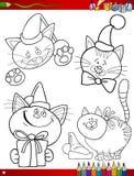 Temas de la Navidad de la historieta que colorean la página ilustración del vector