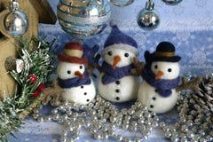 Temas de la Navidad de la postal del muñeco de nieve Imagenes de archivo