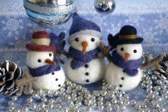 Temas de la Navidad de la postal del muñeco de nieve Foto de archivo