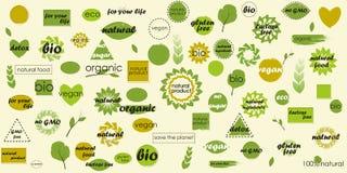 Temas orgánicos del paquete mega del icono y fondos en blanco para sus etiquetas adicionales fotos de archivo
