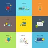 Temas para el estudio Línea plana iconos del vector fijados stock de ilustración