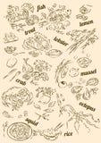 Temat dla rybiego restauracyjnego menu ilustracji